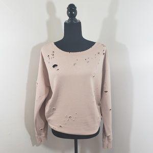 Express One Eleven | Torn Sweatshirt | Pale Pink